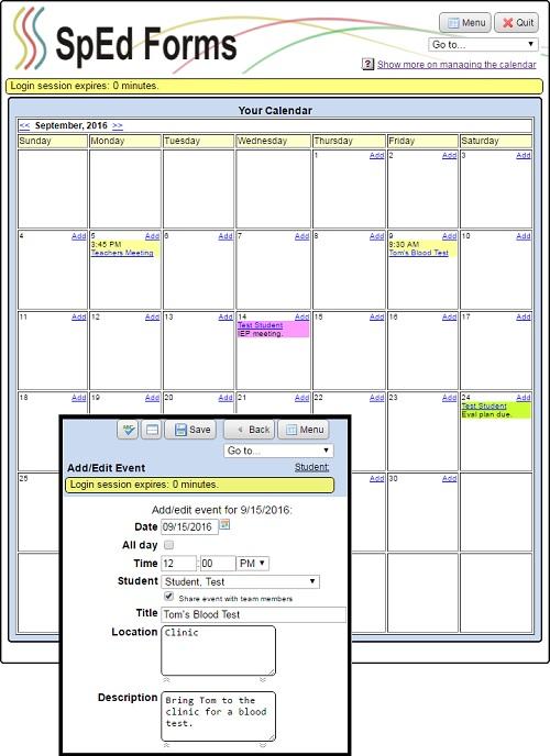 How do I manage my calendar? [SpEd Forms Documentation]