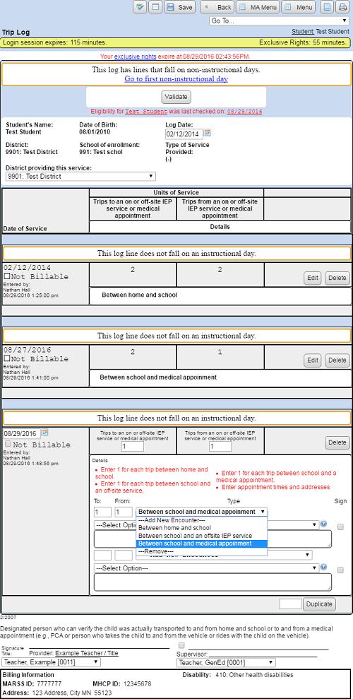 how do i create an ma trip log sped forms documentation